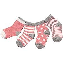 DEBAIJIA 4 Pares Bebé Calcetines Algodón 0-36 Meses Respirable Calcetin Para Niños Niñas Cómodo