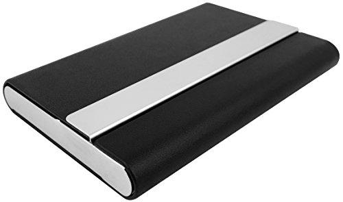 Premium Kredit-Karten-Etui mit RFID Schutz, Visiten-Karten-Box, Business-Card-Case - klein Mini Slim smart - Geschenk für Damen & Herren - Metall Chrome schwarz - Geld Clip Holder Card Magnet