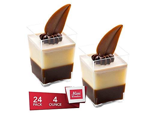 Dessert Cups - Square Dessert Shape Clear Plastic Parfait Cups | 4 oz - 24 Pack | Mini Cups - Chocolate Cups for Desserts | Appetizer Cups | Shooter Glasses | Mini Plastic Cups [Mini Wonders]