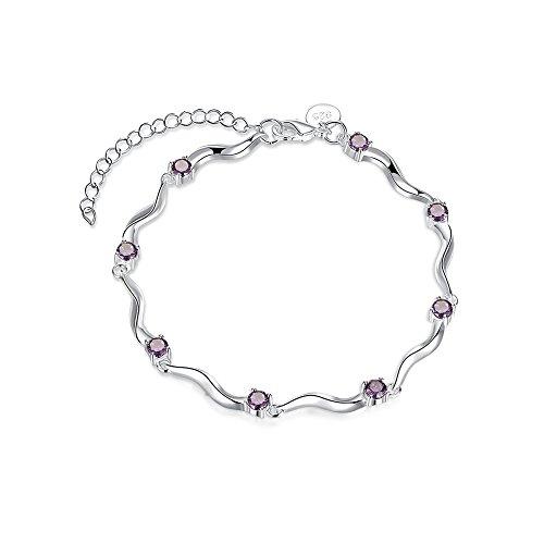MESE London Violett Lila Armband Silber Edler Edelstein Edelsteine Armband - Kostenloses Roter Samt (London Kostüm Schmuck Designer)