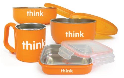 Thinkbaby - Conjunto de 4 Piezas para Alimentación de Bebés hasta Niños en Edad Escolar - sin BPA - Sirve también como Recipiente para Almacenar los Alimentos - 2 Cuencos, Fiambrera y Taza para Niños - Naranja