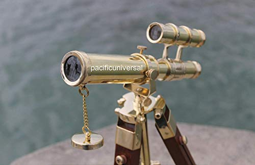 Brass Handmade Nautical Marine Double Barrel Telescope with Wooden Tripod v