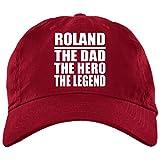 Designsify Roland The Dad The Hero The Legend - Brushed Twill Cap Red/One Size, Gebürstete Twillkappe Golfkappe Baseballmütze Baseballkappe, Geschenk für Geburtstag, Weihnachten
