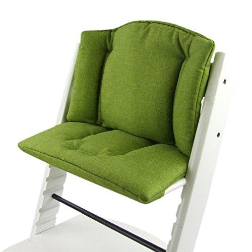 Imagen para BambiniWelt Cojín de asiento para trona Stokke Tripp Trapp, en 14colores, jaspeado, asiento de 2piezas, funda, cojín de repuesto verde claro