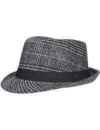Screenes Sombrero De Fieltro Señoras Otoño Invierno Beanie Jazz Sombrero A Estilo  Simple Cuadros Elegante Moda 187edd60869d