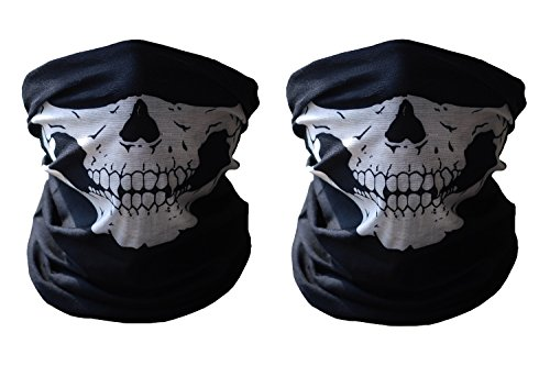 Meta-U 2pcs Stretchable Tubular Skull Face Mask Motorcycle Biker Snowboards 679c2a60c3d3