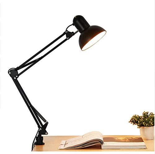 Plug-in Swing Arm Lampe (Schreibtischlampe Flexible Swing Arm Clamp Mount Schreibtischlampe Schwarz Eisen Tischleuchte Leselampe Für Home Office Studio Study Us Plug In Ac)