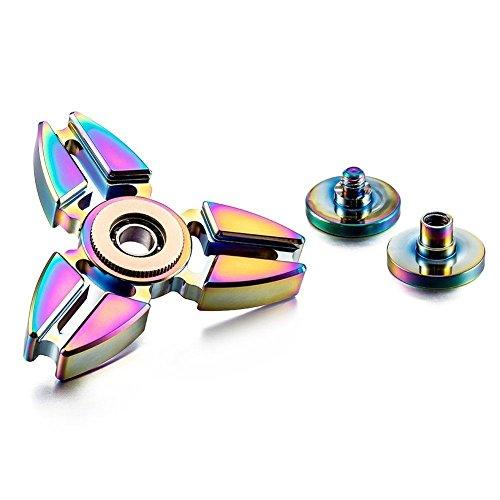 Hand Spinner Toy, Stillshine arco iris de colores de metal de alta velocidad Tri-Spinner juguete Spinner de mano Fidget EDC juguete de oficina para el estrés y alivio de ansiedad (D) - 4