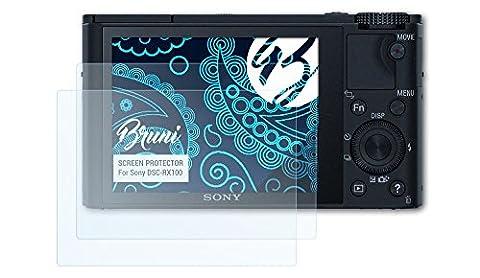 Bruni Sony DSC-RX100 Folie - 2 x glasklare Displayschutzfolie Schutzfolie für Sony DSC-RX100