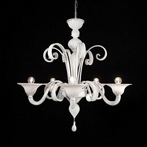 Firenze lampadario in vetro di murano 5 luci bianco latte
