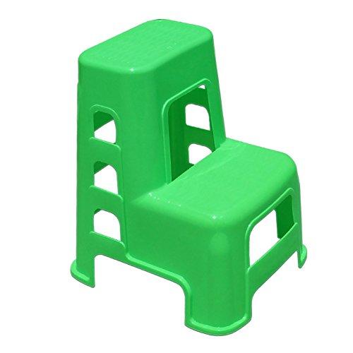 YXX- Kunststoff 2 Schritt Hocker Ladder für Erwachsene & Kinder Utility Car Wash Hocker Haushaltswaren Kleine Fußhocker Schuhbank (Farbe : Green) (Kunststoff-stahl-klappstuhl)