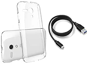 Transparent Back Case Cover and Data Cable For Sony Xperia T2
