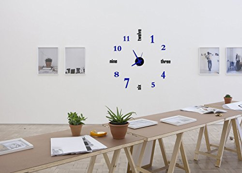 Time It Designer Self Adhesive Innovative DIY (Do It Yourself) Analog Wall Clock - (Black - Blue)