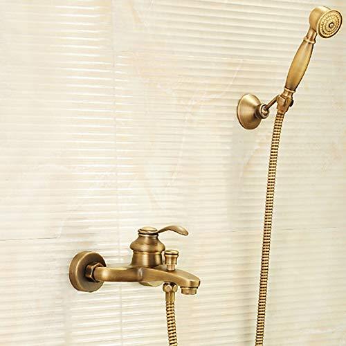 DFRQJHQGH Duscharmatur - Antik Antik Messing Badewanne Und Dusche Messing Ventil Badewanne Dusche Mischbatterien/Einhand Zwei Löcher (Einhand-dusche-ventil)
