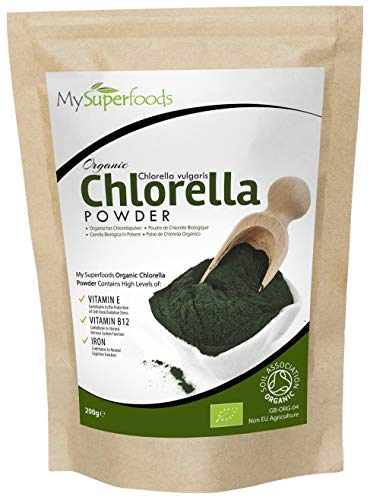 Polvo De Clorela De Pared Celular Rota Orgánica (200g) / MySuperFoods / Increíble alto contenido de Clorofila / Repleto de nutrientes / certificado como producto orgánico / Saludable Alga comestible / Agregue a bebidas y smoothies
