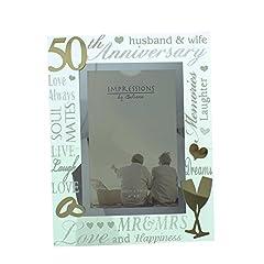 Idea Regalo - Oro ° anniversario di matrimonio specchio cornice portafoto
