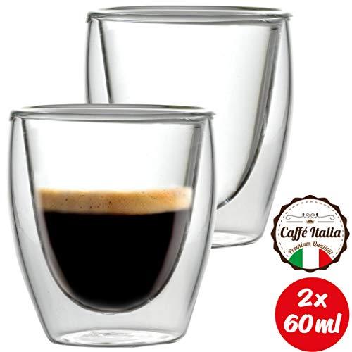 Caffé Italia Torino 2 x Tasse Double Paroi 60 ML - Tasse Expresso 8 cl - Espresso en Verre - Coffret de 2 Tasses à Café Double Paroi - Cadeau Parfait pour Toute Occasion