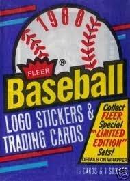 1988 Fleer Baseball Logo Stickers & Trading Cards (1 Wax-pack) by Fleer