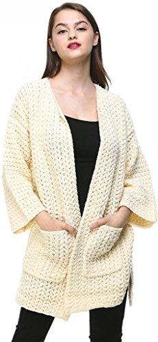 Vogueearth Fashion Femme's Ladies Loose Manche Pocket Twist Knit Sweater Chandail Tricots Open Cardigan Beige