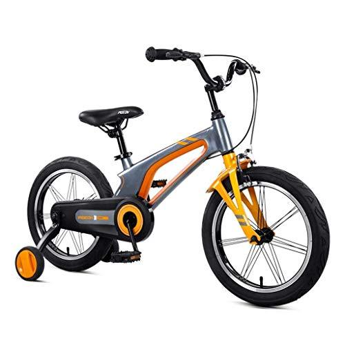 Deluxe Bikes Fahrrad Magnesiumlegierung Fahrrad 14in / 16in Kinder Fahrrad 3-8 Jahre Alten Jungen Fahrrad Stadt Geländewagen Mountainbike Bikes (Farbe: Orange, Größe: 14 Zoll)