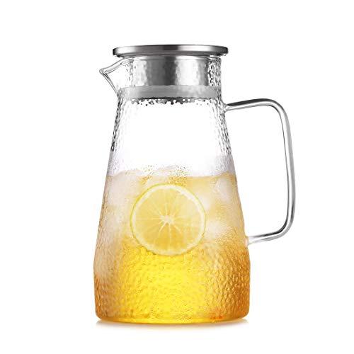 oneisall Caraffa Vetro, Brocca di Vetro 1.5L, Bello Brocca Acqua & Brocche e Caraffe, Brocca Vetro Caraffa Acqua Vetro per Acqua Calda/Fredda, Succo, tè e caffè