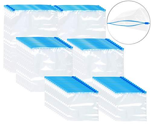 Rosenstein & Söhne Handgepäck-Beutel: 60 Premium Zip-Verschluss Gefrier-Beutel, 1/3/6 Liter, 68 µm (Flugbeutel)