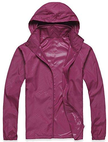 Mochoose Femme Légère Packable Veste de Sport à Capuche Protection UV Coupe Vent Imperméable à Séchage Rapide Violet