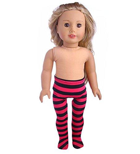 Driverder Ideales Puppenzubehör Mädchen Puppe elastische gestreifte Leggings (rot + schwarz)