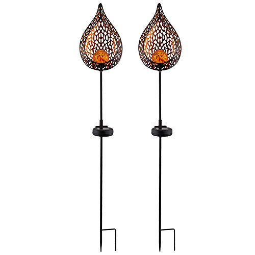 2er Set LED Solar Außen Lampe Flammen Optik Glas Kugel Steck Strahler gold Garten Erdspieß Lampen