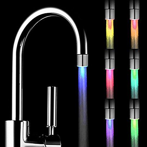 Foonii 2pcs 7 colori che cambiano luce LED blu acqua rubinetto acqua Rubinetto miscelatore (Acquario Light Fixtures)