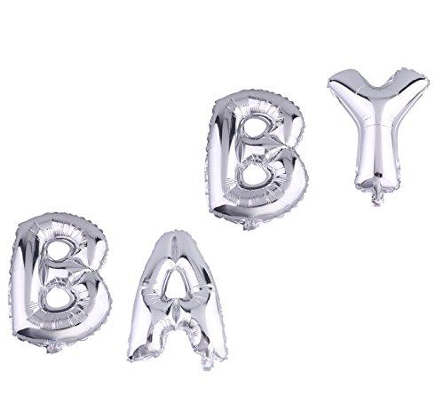 "YL Folienballon Buchstabenkombination Goldfarbig Silberfarbig (silbern ""BABY"")"