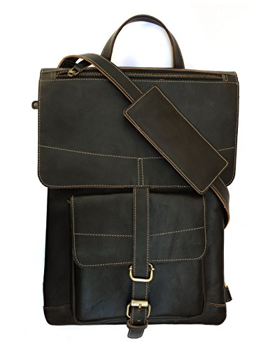 Chalk Factory Genuine Leather Convertible Backpack / Messenger Bag with Detachable charger Pocket Custom made for Asus X550LDV-XX623D 15.6-inch Laptop #CNVRTBL, Black