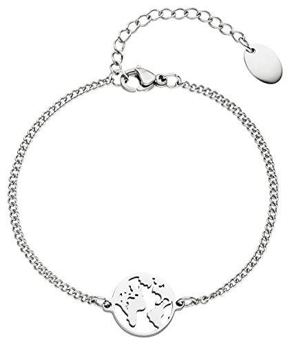Frauen Und Erde (Ansané| Weltkugel Armband | exklusive Schmuckschachtel | in Rose-Gold-Silber | Welt-Kette 16 cm + 5 cm |)