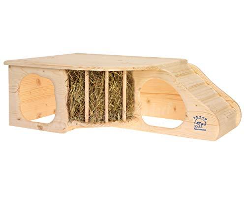 """Resch Nr11 """"Nagerhöhle XL"""" naturbelassenes Massivholz aus Fichte / mit Treppe zur Liegeterasse, integrierter Heuraufe, großen Eingängen und gerundeten Ecken - 5"""