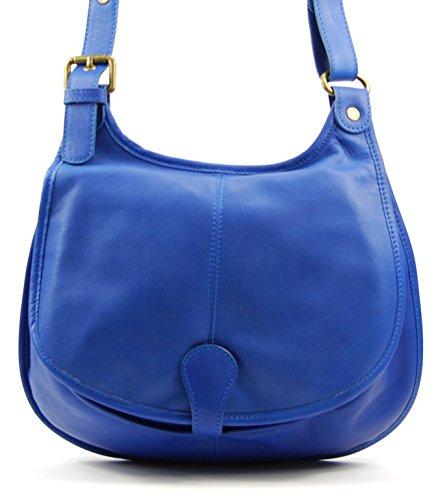 OH MY BAG Sac à main bandoulière porté de travers CUIR souple femme Modèle M Nouvelle collection BLEU ROI