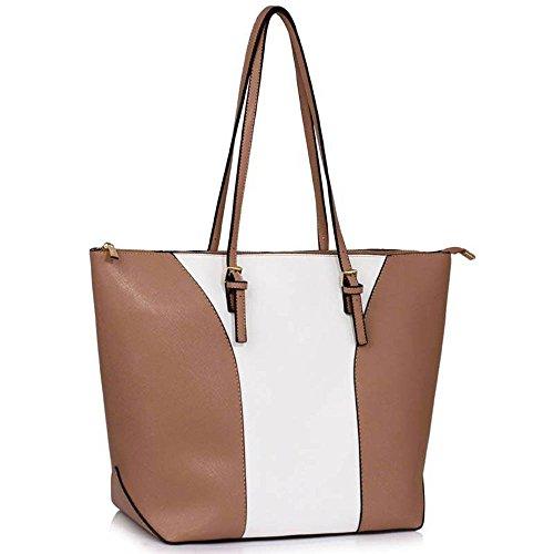 TrendStar Handtasche der Frauen faux Leder Damen Große Entwerfer-Taschen-Umhängetasche Nude/Weiß