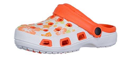 Brandsseller Damen Clogs Pantoffel Schuhe Gartenschuhe Hausschuhe - Rot/Weiß, Gelb/Weiß und Blau/Weiß mit Muster Gr. 36-41 Gemustert (36, Orange/Weiß)