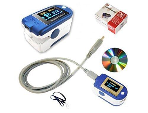 BLYL CMS 50D+ Finger-Pulsoximeter und Herzfrequenz-Monitor, OLED, USB, mit 24-Stunden-Speicher, Halteschlaufe, USB-Kabel, vollständige Analysesoftware