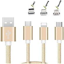 CEKA TECH Cable Meizu M2 NOTE, Cable 3 en 1 USB Multi Charge con USB Tipo C/8 Pin Lightning/Conector micro USB para iPhone 7, 6, 5, Galaxy S3/S4/S5/S6/S7 Edge, Nexus 6P, 5X y más