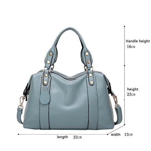 Sunas Sacchetto di spalla morbido del sacchetto del messaggero della spalla della borsa della borsa delle donne di modo blu