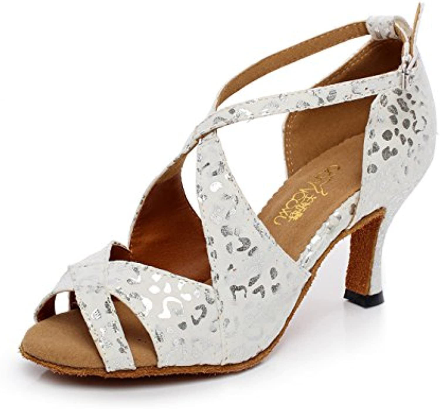 JSHOE Salsa/Tango/Tea/Samba/Modern/Jazz Shoes Sandalias Tacones Altos Para Mujer,White-heeled6cm-UK6/EU39/Our40