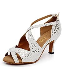 JSHOE Frauen PU Latin Salsa Tanzschuhe Salsa/Tango/Tee/Samba/Modern/Jazz Schuhe Sandalen High HeelsWhite-heeled6cm-UK5...