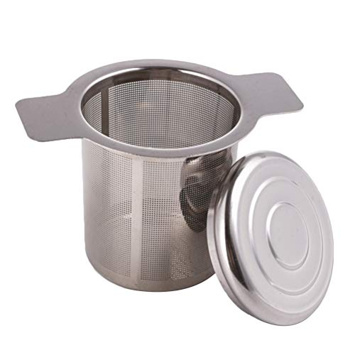 Edelstahl-doppel-griff (BESTONZON Teefilter Edelstahl Teesieb Abtropfschale mit Doppel Griff Deckel für Losen Tee Mulling Gewürze)