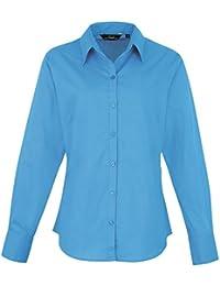 Premier - Camisa lisa de popelín de manga larga para mujer