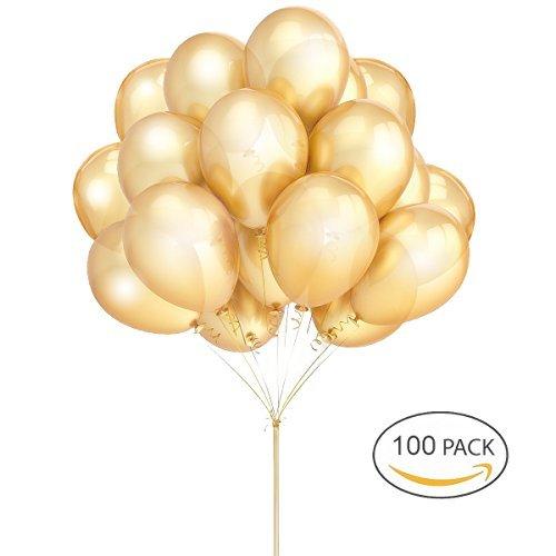 Goldballons Hoshin Luftballons 12 Zoll verdicken Latex Metallic Ballons 100 Stück für Hochzeitsfeier Babydusche Weihnachten Geburtstag Karneval Party Dekoration Lieferungen (Dekorationen Und Party Lieferungen)