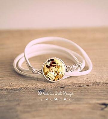Bracelet double tour simili cuir blanc, Cabochon Geisha Japonaise, beige et marron