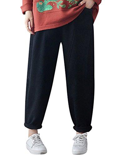Youlee Femmes Hiver Automne Taille elastique Pantalon épais Pantalon doublé polaire Noir
