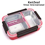 KetZeal Stainless Steel Lunch Box Insulated 2 Food Compartment for School or Office