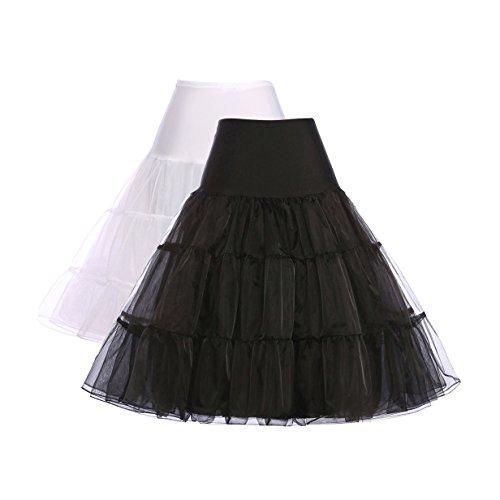 50s vintage petticoat unterrock underskirt unterröcke knielang festliche röcke reifrock für brautkleid M ZHXS0003-1,C1,Schwarz,Weiß