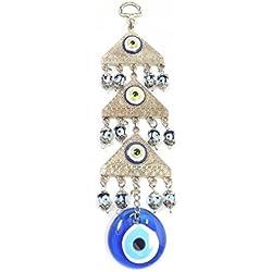 Wanddeko Wandschmuck Deko - 'Muska' Nazar Boncuk Evil Eye - Dreieck - Silber Farbe - Glücksbringer blaues Auge